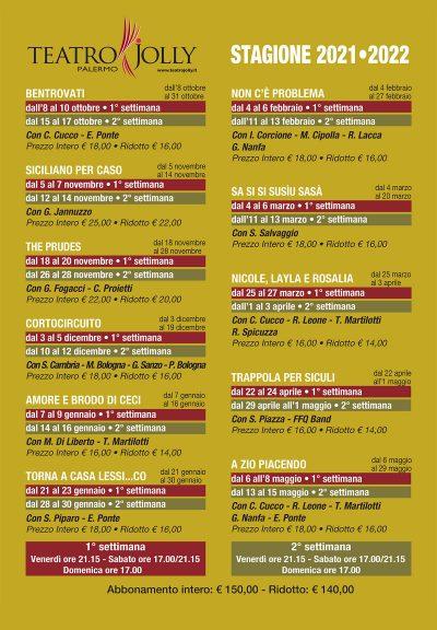 Locandina stagione 2021-2022 - Teatro Jolly Palermo